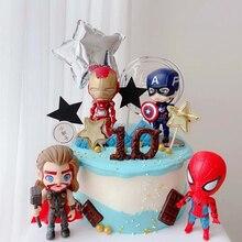 Birthday-Cake-Decoration Spiderman Avengers Superhero-Iron Plastic 6pcs