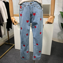 2020 New Spring Autumn Women Jeans Pants Heart Print High Waist Straight Denim Trousers