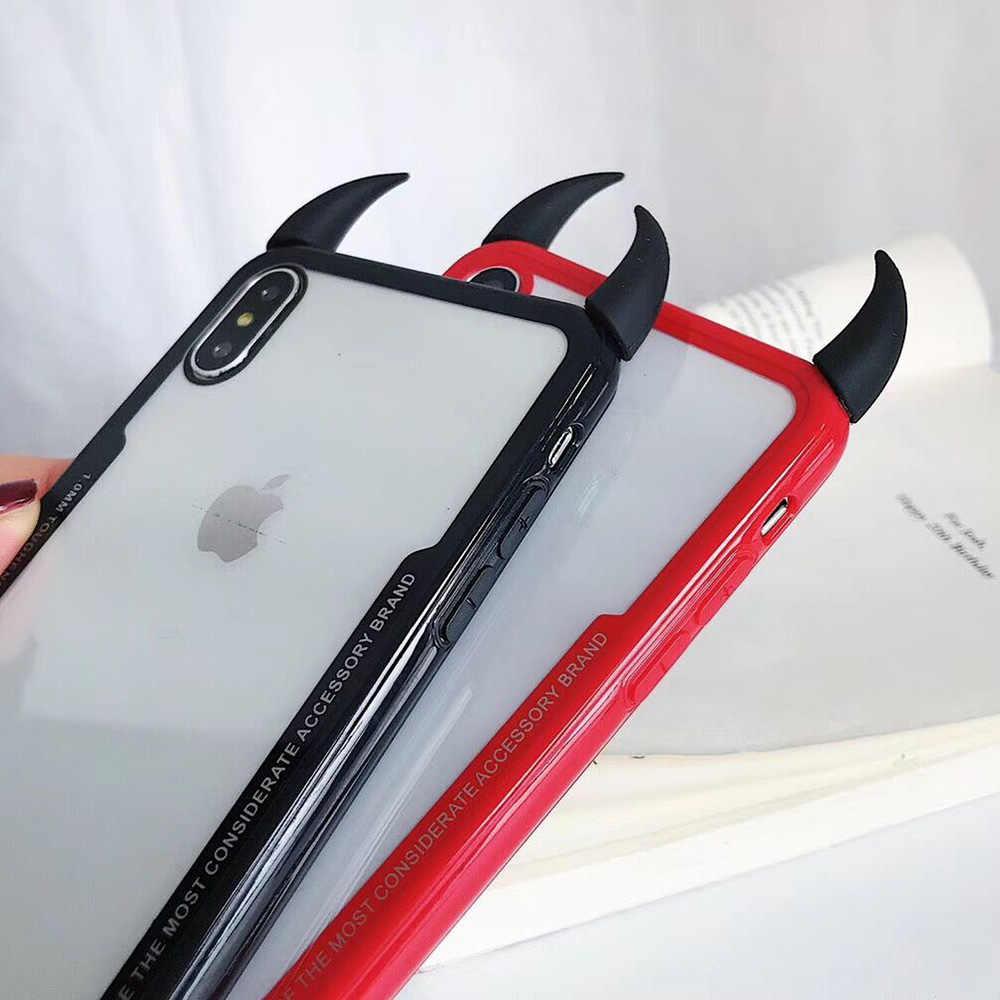 P30PRO Ultra ince Sevimli DIY Şeytan Boynuz telefon kılıfı Için Huawei P20 P30 Pro lite mate10 mate20 Şeffaf Akrilik Coque kapak Kılıfları
