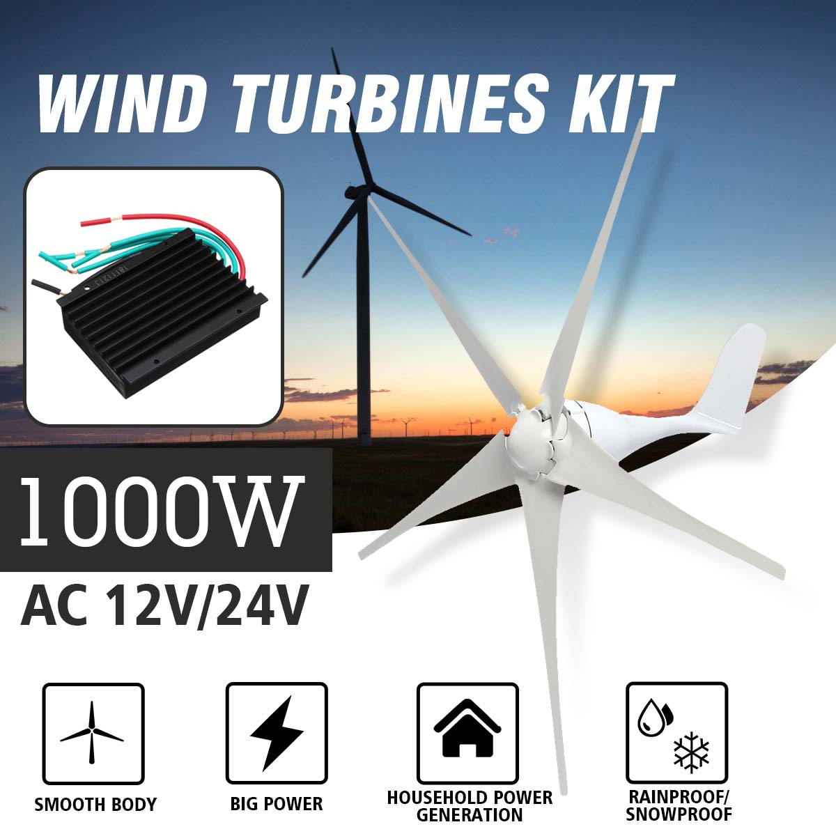 1000W Wind Generator AC 12V/24V 5 Blades Wind Power Magnet Turbines With Controller Vertical Axis For Home Camping Streetlight