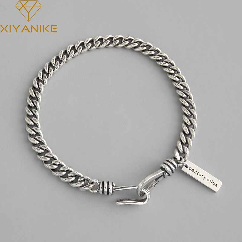 XIYANIKE 925 Sterling Silver Vintage Trendy English Letter Tag Party Bracelet For Women Thai Silver Jewelry Anniversary Gifts
