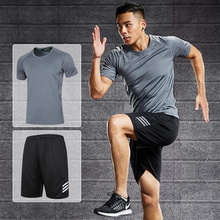 Gym clothing men running sets sport suit shorts+tshirt two-piece set sports joggers training tracksuits sportswear