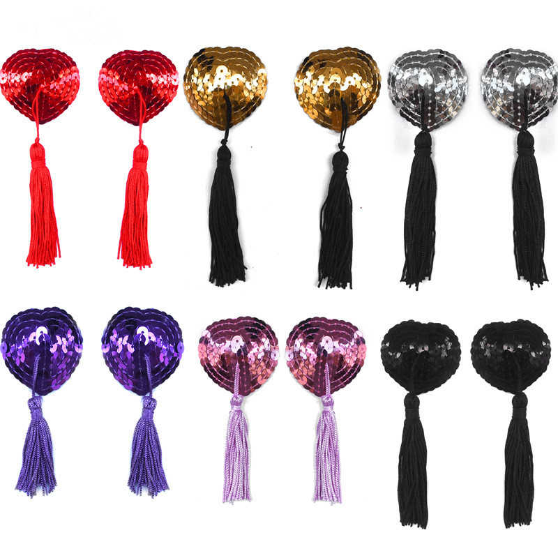 New Sexy Pasties Stickers Sex Product Toys Women Lingerie Sequin Tassel Breast Bra Nipple Cover Petals Clothing Accessories