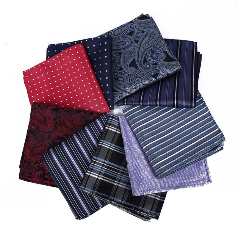 Luxury Men's Polyester Silk Handkerchief Pocket Square Vintage Polka Dot Hankies Formal Wedding Party Chest Towel 22*22CM