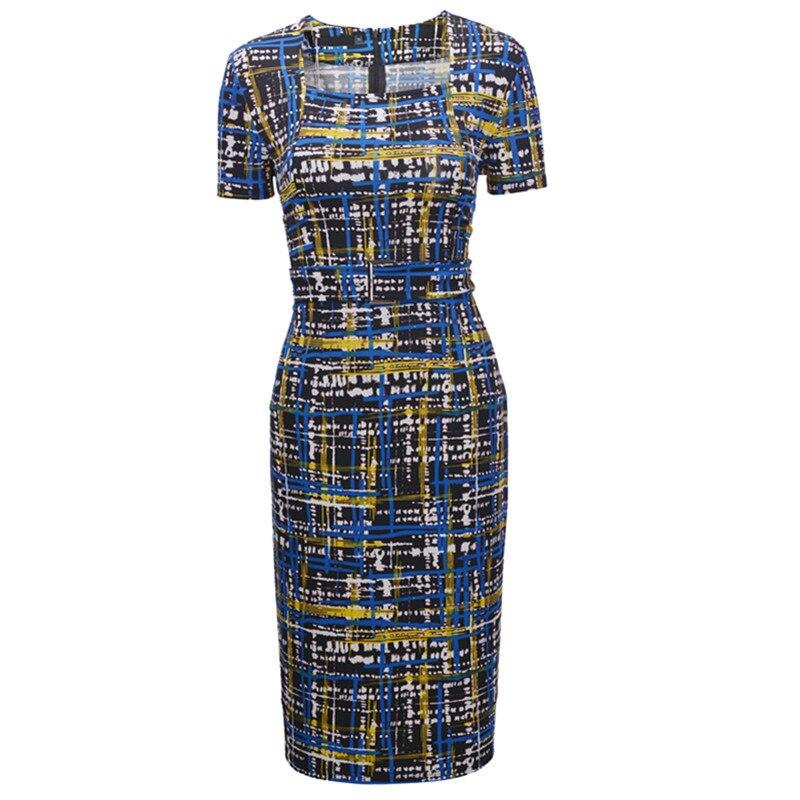 Women Short Sleeve Lady Plaid Print Pencil Dress Party Dresses Elegant Dinner Dress 7
