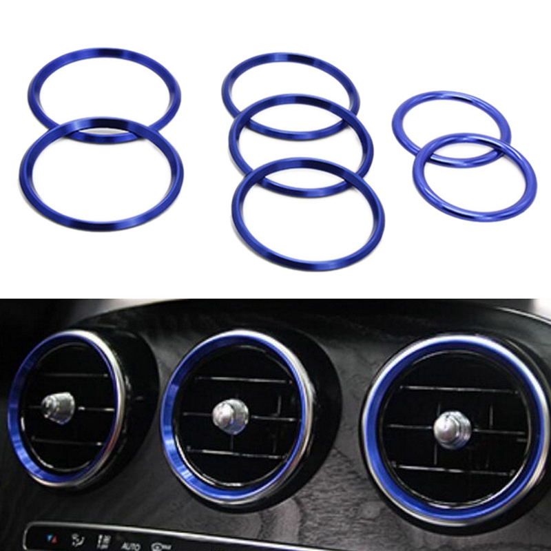 7Pc Car-Styling Ac Outlet Ring Decoration Air Conditioning Vents Trim Stickers Cover For <font><b>Mercedes</b></font> Benz C Class W205 Glc <font><b>180</b></font> 200 image