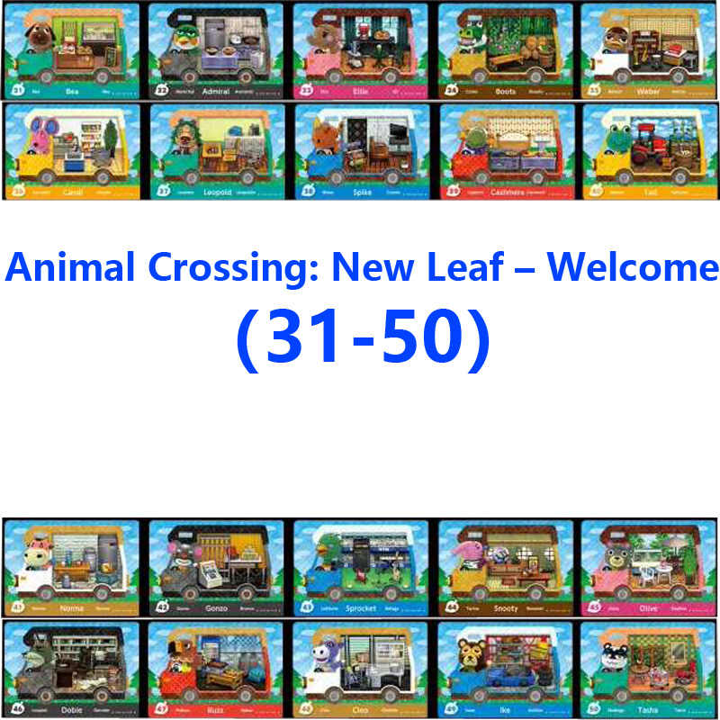 Animal Crossing New Leaf Welcome (31-50)Amiibo Locks Nfc Printing Card Work For NS Games Leaf Welcome (31-50)