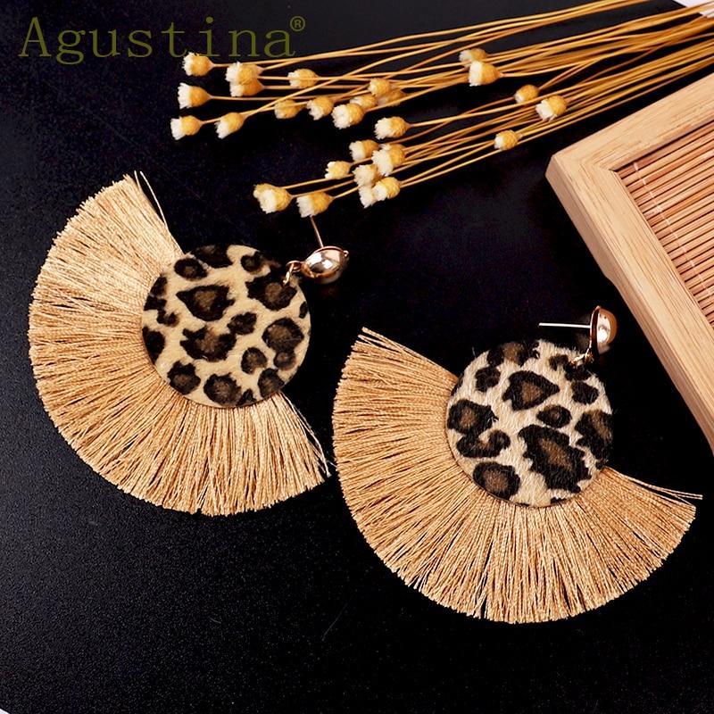 Agustina Fashion Tassel Earrings 2020 Women Drop Earrings Jewelry Flower Leopard Earrings Girls Punk Earring Bohemian Earings cc
