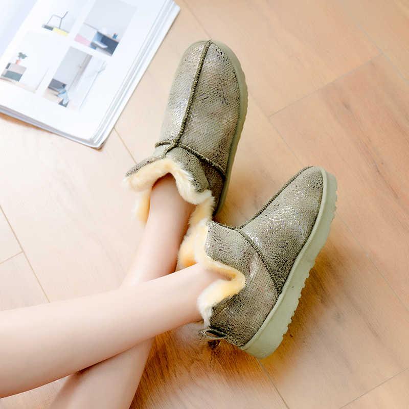 Botas de nieve NKLSA 2019 para mujer, botas de piel de invierno, botas de tobillo para mujer, botas planas de gamuza de felpa, con plataforma de moda para mujer zapatos