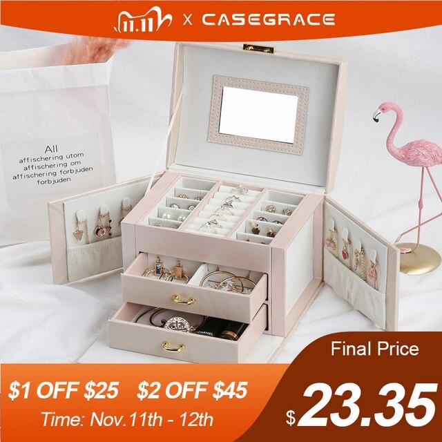 2020 luksusowe pudełko na biżuterię Organizer duże PU skórzane szuflady pudełka na biżuterię kolczyk pierścień naszyjnik pojemnik na biżuterię prezent trumny