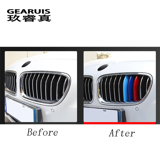 Car Styling For BMW X3 x4 f25 f26 g01 g02 Accessories Head Front Grille For M Sport Stripes Grill Covers Cap Frame Auto Stickers 5