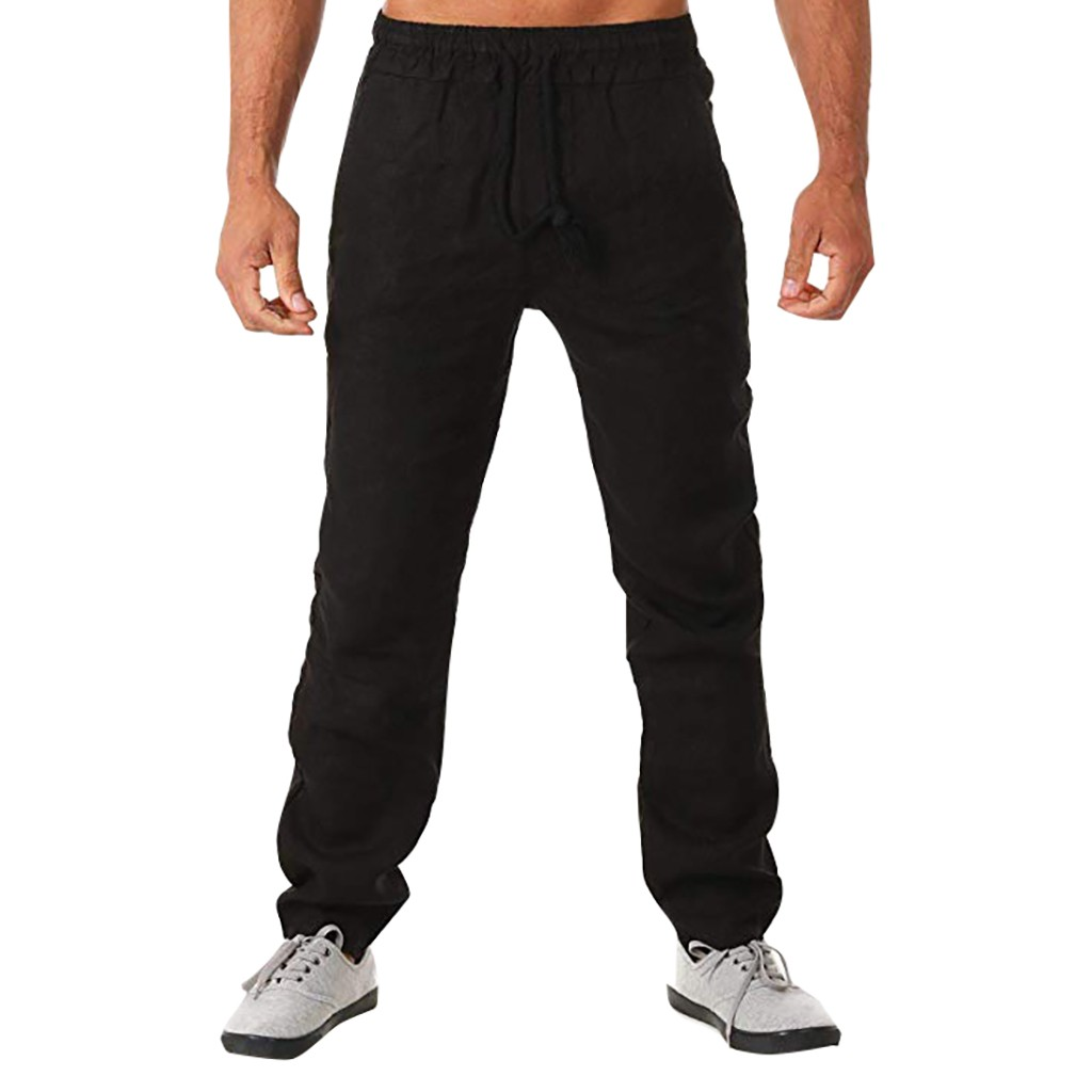 Men's Summer Simple And Fashionable Solid Cotton And Linen Sports Trousers Male Streetwear Pantalones Hombre Joggers Plus Size