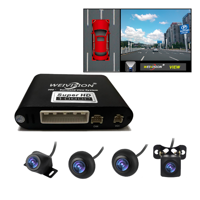 Car Accessories 1080P Weivision HD 360 Degree Bird View System Surround Panoramic View, All Round View Camera System With DVR