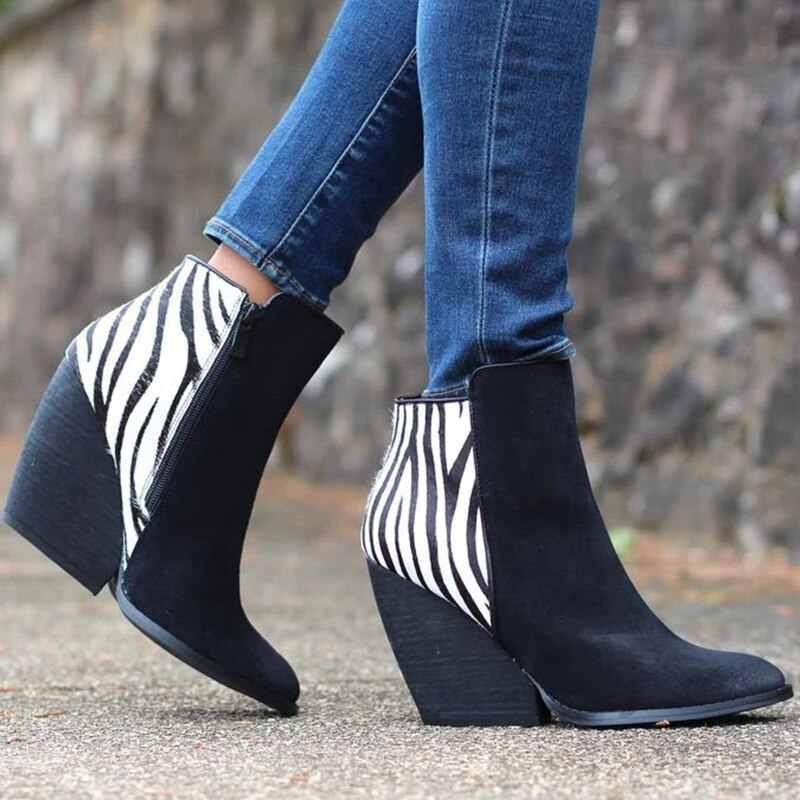 Puimentiua Baskı Botları Baskı Kadın yarım çizmeler Zip Sivri Burun Ayak Ayakkabı Kalın Yüksek Topuklu Kadın Çizme Ayakkabı Zebra Desen Bootie