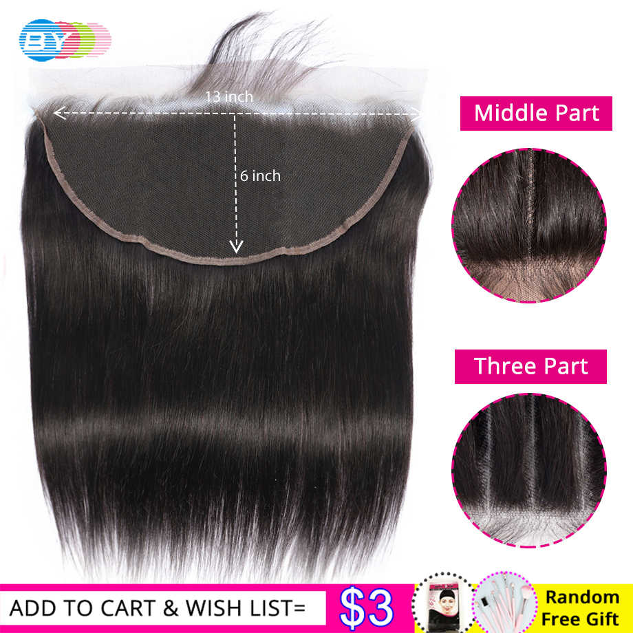 HD 13x6 Lace Frontal Closure With Baby Hair Peruvian Straight Swiss Lace Ear to Ear Lace Frontal Closure 8-22inch Remy Hair BY