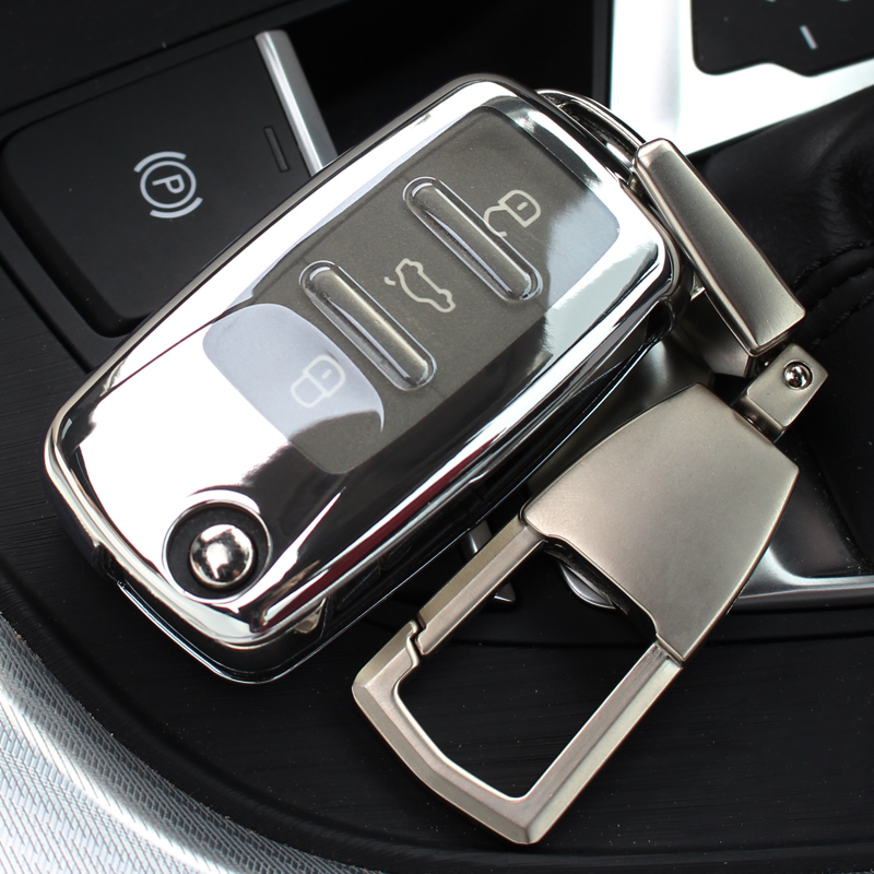 Kye Case For Vw Volkswagen Tiguan Passat Polo Skoda ABS Car Key Shell Case Cover Holder with Keyring Key Ring Chain  Keychain