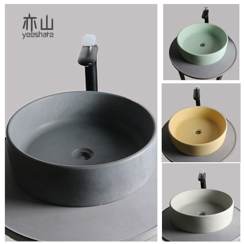 Nordic Round Cement Basin Wash Sink Home Bathroom Creative Washbasin Concrete Washbasin Above Counter Basin