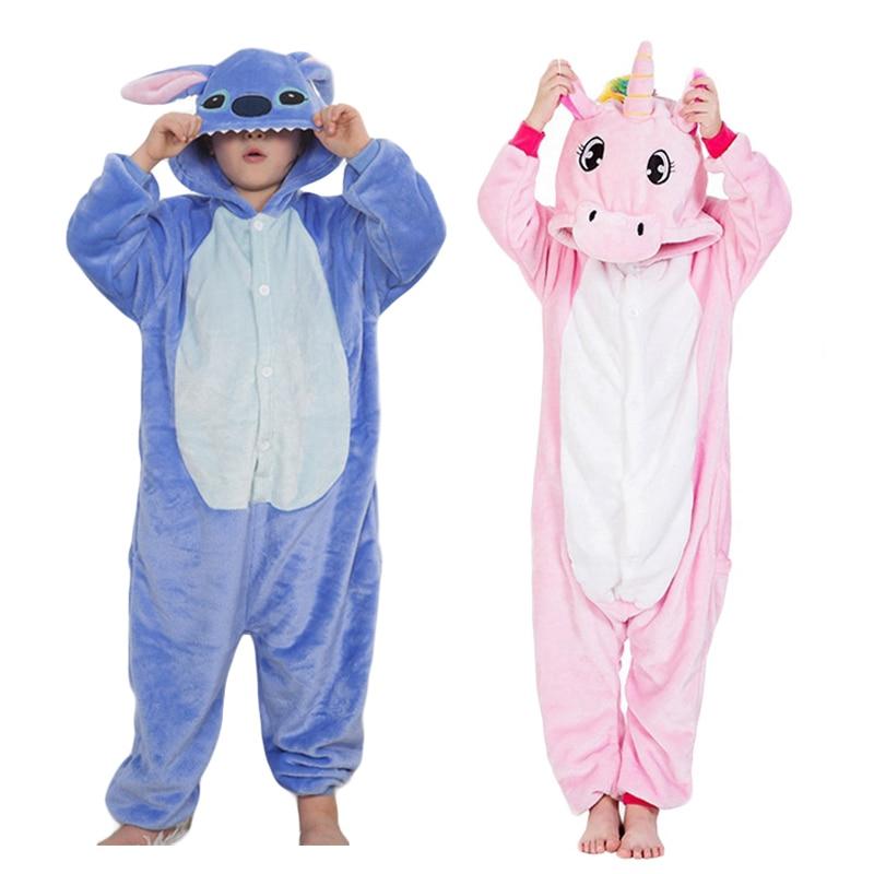 New Pyjamas Kids Children Unicorn Pajamas Cosplay Pijamas For Boys Girls Flannel Onesies Stitch Pijamas Anime Panda Sleepwear
