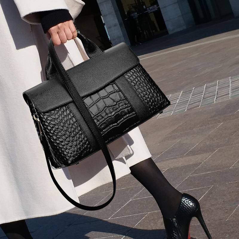 Fashion Alligator Women Handbags Crocodile Top-Handle Women Crossbody Bags Large Capacity Quality Leather Ladies Messenger Bags