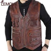 LEMOV Genuino di Marca In Pelle di Mucca Mens Maglia Photography Maglia Con Molte Tasche Marrone Moto Giacca Gilet Gilet Maschile