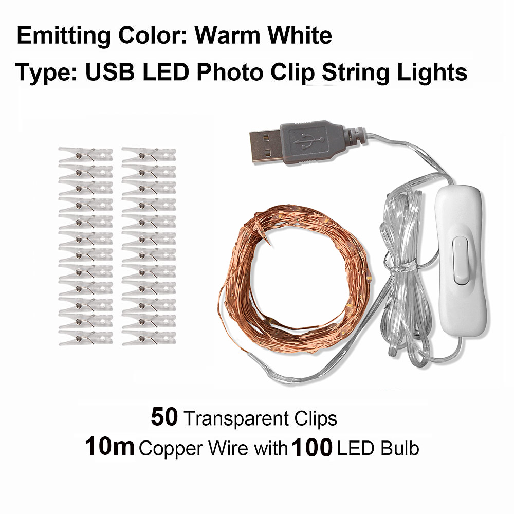 10M Photo Clip USB LED String Lights Fairy Lights Outdoor Battery Operated Garland Christmas Decoration Party (40)