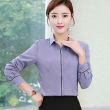 Корейские модные шифоновые женские блузки с длинным рукавом