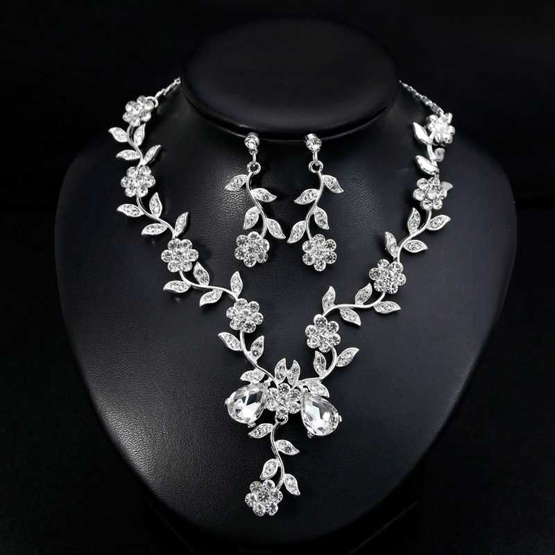 Women S Crystal Diamond Necklace Set Two Piece Fancy Bridal Necklace And Overhang Earrings Jewelry Set Wedding Aliexpress