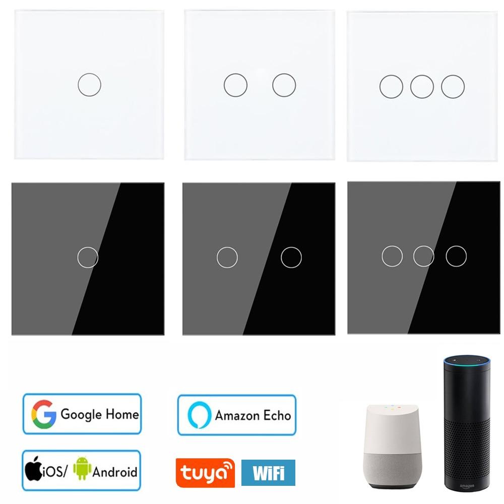 Tuya RF433 Home Remote Voice Control Touch Smart Switch WIFI AC170-240V No Neutral Controller Support Alexa Echo Google Home EU