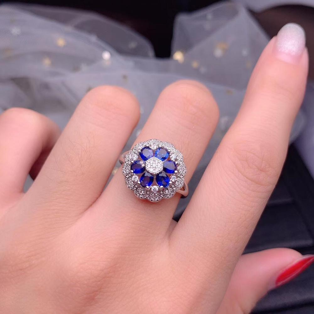 Oval corte azul natural safira pingente colar de flores e anel conjunto, 925 prata esterlina flor ameixa pedra preciosa conjunto jóias ft262 - 5