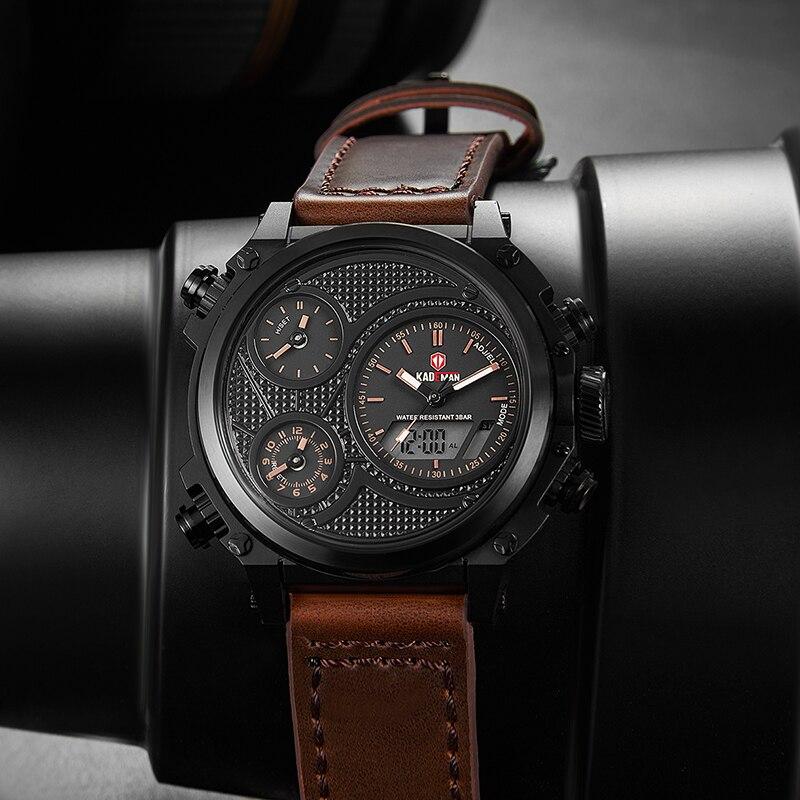 KADEMAN Montre Homme повседневные мужские наручные часы несколько часовых поясов двойные военные часы Неделя кожаный ремень Relojes Para Hombre подарок - 3