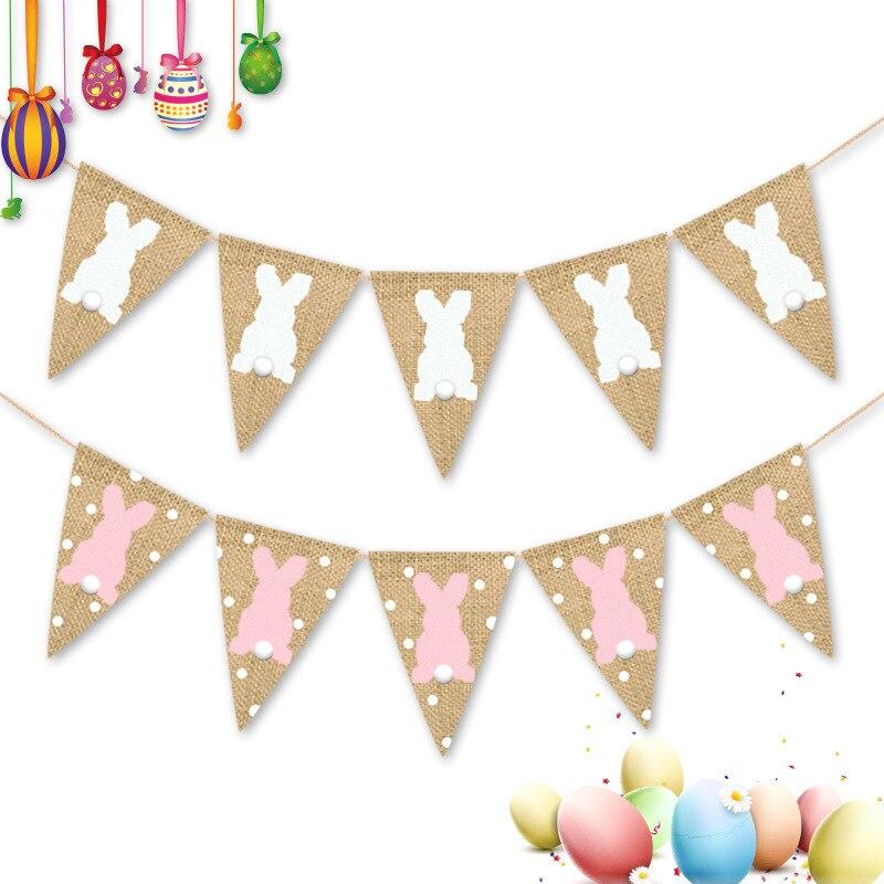 2 метров пасхальные Вымпел в декорированном мешковиной горшке баннер с кроликом Банни для праздничный Декор Пасхальный фестиваль цветные ф...