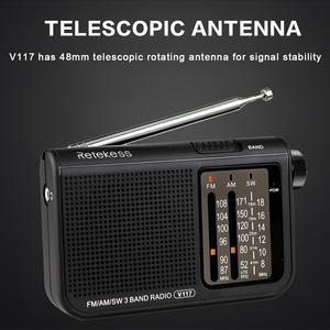 Портативный радиоприемник RETEKESS V117 AM FM SW для пожилых транзисторов, расширенный тюнер с питанием от батареи