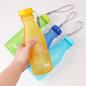 Image 3 - Candy Farben Wasser Flasche Unzerbrechlich Frosted Kunststoff wasserkocher Kostenloser Tragbare Wasser Flasche für Reise Yoga Lauf Camping