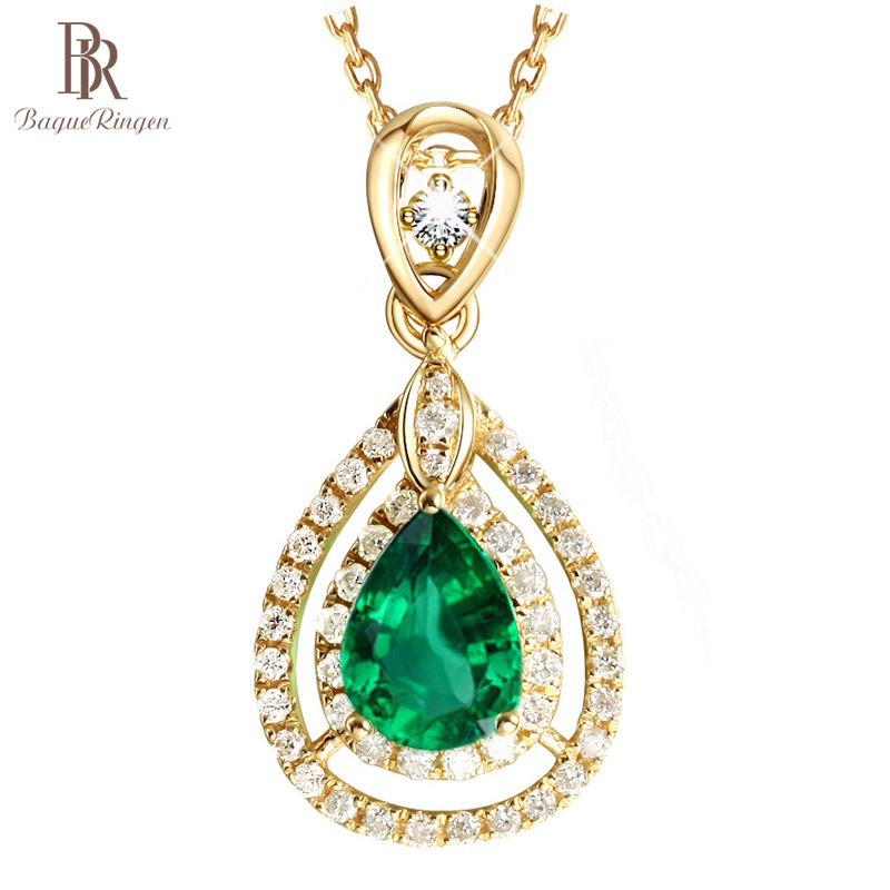 Bague Ringen Elegant Vintage Silver 925 Jewelry Water Drop Shaped Gemstone Pendant Emerald Necklace For Women Mother's Day Gifts