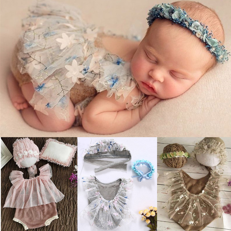 3Pcs Newborn Photography Props Suit Lace Romper Hat Pillow Headband Set Knit Outfits Clothing Infants Shooting Photo Gifts