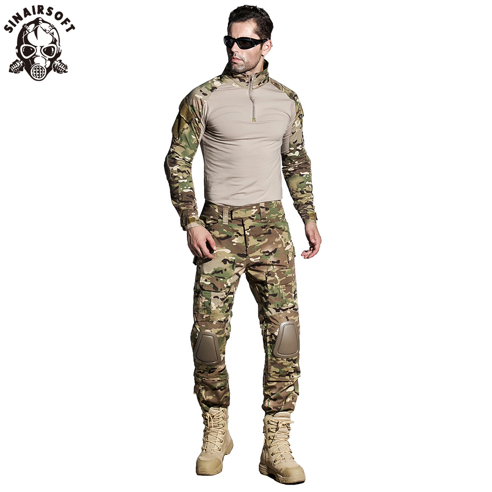 SINAIRSOFT taktik G3 BDU kamuflaj savaş üniforma Airsoft gömlek pantolon diz pedleri ile askeri Multicam avcılık Camo giyim