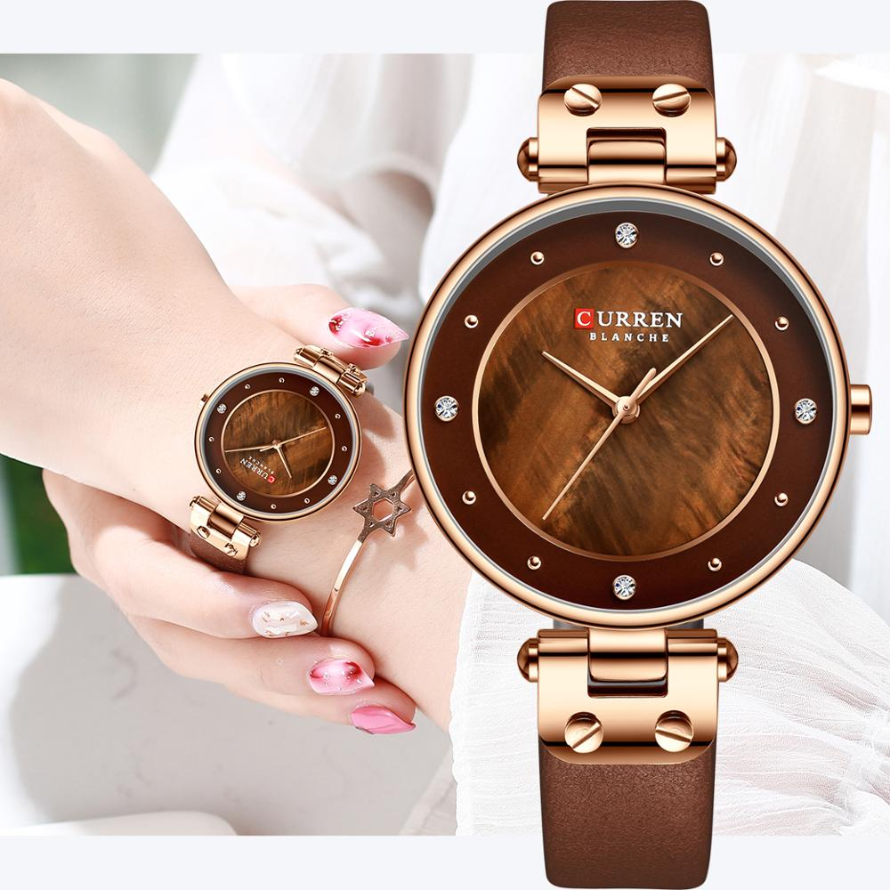 CURREN Simple Rhinestones Charming Watch For Ladies Quartz Watches Leather Strap Clock Female Wristwatch Dress Women's Watch