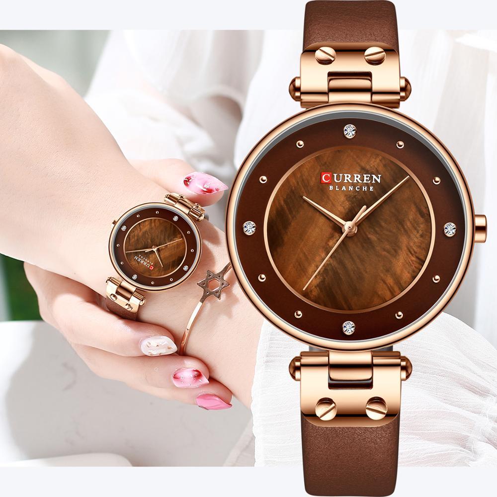 CURREN Simple Rhinestones Charming Watch for Ladies Quartz Watches Leather Strap Clock Female Wristwatch Dress Women's Watch