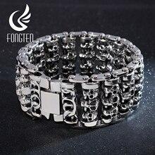 Fongten Wholesale Wide Skull Stainless Steel Bracelets Men Metal Biker Viking Charm Large Argent Men Bracelet bangle Jewelry