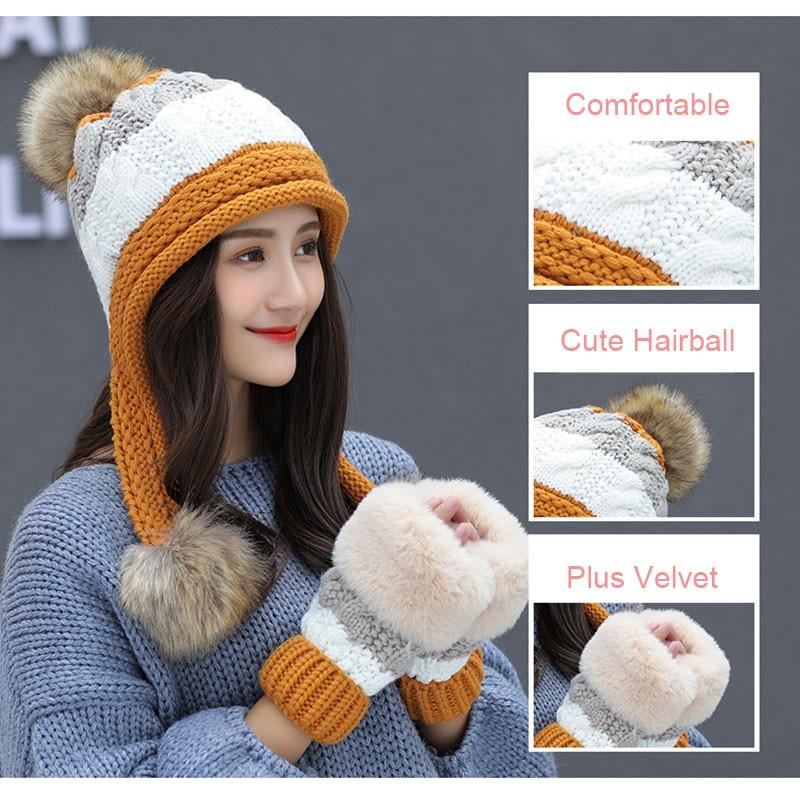 Calymel 2019 Women Beanies Wool Ball Winter Hat Keep Warming Acrylic шапка женская Bonnet Fashion Knitted Cap Ears Protector 33