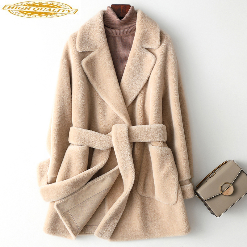 Real Fur Coat Women Autumn Winter Jacket For Women Sheep Shearing 100% Wool Coat Korean Womens Coats Y002 KJ3466
