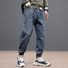 Fashion Streetwear Men Jeans Loose Fit Japanese Vintage Style Denim Cargo Pants Slack Bottom Joggers Designer Hip Hop