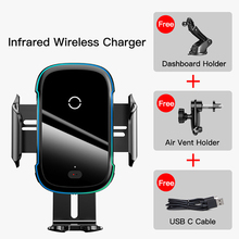 Baseus Qi Car Wireless Charger For iPhone 11 Pro XS Max Samsung S10 Intelligent Infrared Fast Wirless Charging Car Phone Holder