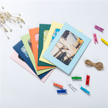 Wall Deco DIY Creative Mini Paper Photo Frame With Mini Colored Clothespins And Twine room landscape wall photo frame A1(China)