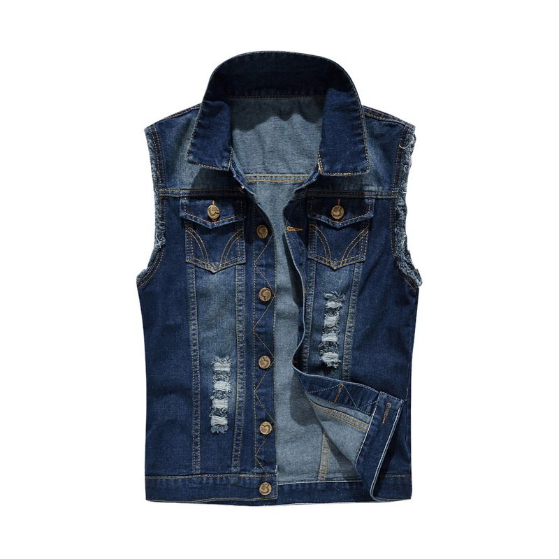 Coat Jean-Vest Plus-Size Denim Pactwork Collar Single-Breasted Summer Hot Turn-Down Men title=