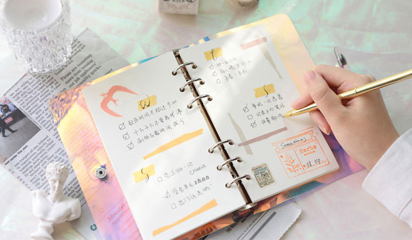 A5 A6 Laser transparent Notebook Planner Organizer Paper Planner Inner Page ring binder Diary Bullet Journal