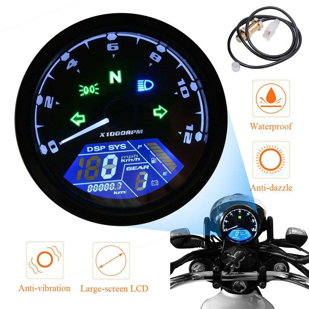 Universal LCD Motorcycle Digital Speedometer 12000PRM Waterproof Tachometer Meter Odometer Moto Panel Motorcycle Accessories