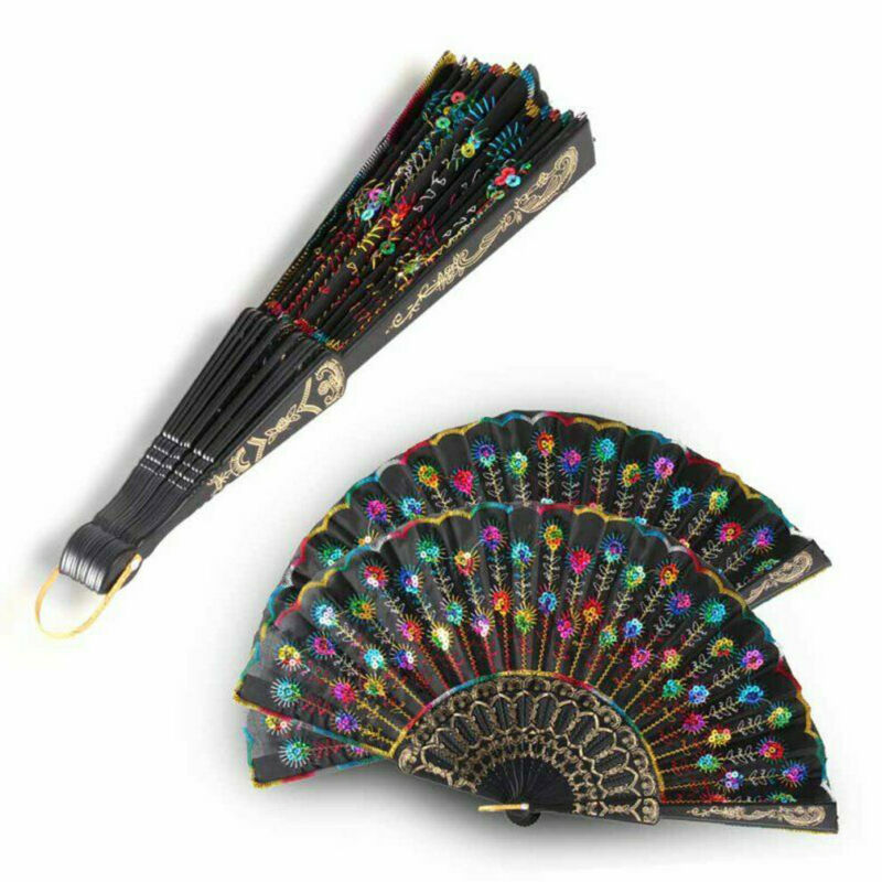 Popular Chinese Style Lace Hand Held Folding Fan Dance Party Wedding Decor L