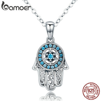 BAMOER Genuine 925 Sterling Silver Trendy Fatima's Guarding Hand Pendant Necklaces Women Fine Jewelry Gift SCN264 - discount item  30% OFF Fine Jewelry