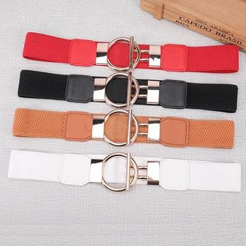 Women Belts PU Leather Elastic Wide Waist Strap Stretch Thick Waist Belt for Dress Fashion Stretch Ladies Waistband